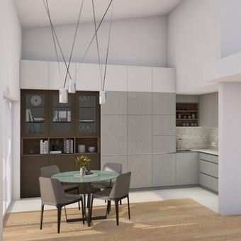 Aptariamas funkcionalus išplanavimas, parenkamos medžiagos ir sukuriamas 3D modelis. Pateikiamas virtuvės 2D brėžinys, individualiai projektuojamų baldų brėžiniai, vizualizacija.