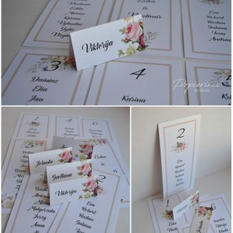 Stalo kortelės ir sėdėjimo planas