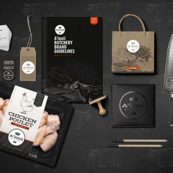 """Sukurtas prekinis ženklas bei visas vizualus identitetas mėsos gaminių įmonei """"Alanii Butchery"""" daugiau: www.facebook.com/egilldesign"""
