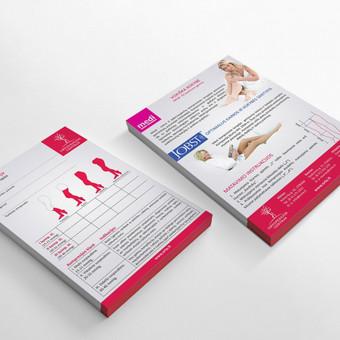Medicininių rekomendacinių lapelių (kompresinei terapijai) dizainas ir vektorinių schemų nupiešimas.