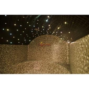 Garinė pirtis Kretingoje Garinės pirties gultų, sienų bei lubų formos gamintos individualiai iš specialaus ekstrūdinio polistirolo. Harvia garo įranga. Apdaila - mozaikinės plytelės.  Apš ...
