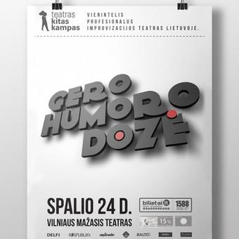 """Atnaujintas teatro Kitas Kampas improvizacijų šou """"Gero Humoro Dozė"""" vizualas."""