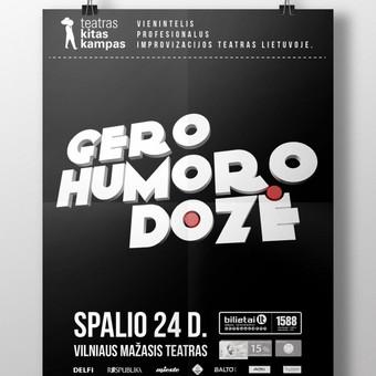 """Atnaujintas teatro Kitas Kampas improvizacijų šou """"Gero Humoro Dozė"""" vizualas. Black"""