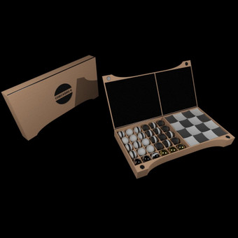 """Žaidimas """"Checkers+"""", rusiškų ir angliškų šaškių mišinys. /idėja /logotipas /pakuotės dizainas /žaidimo dizainas /3D modelis"""