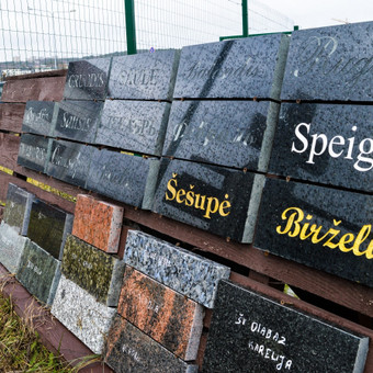 Užrašų kalimas akmenyje, granite, bei metalinių raidžių montavimas 865688083