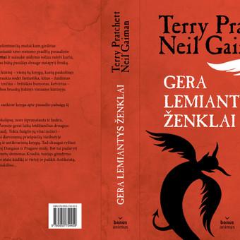 """Viršelis Terry Pratchett ir Neil Gaiman knygai """"Gera lemiantys ženklai""""."""