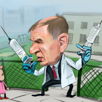 "Sveikatos ministras V.Andriukaitis. Piešinys publikuotas ""lrytas.lt"""