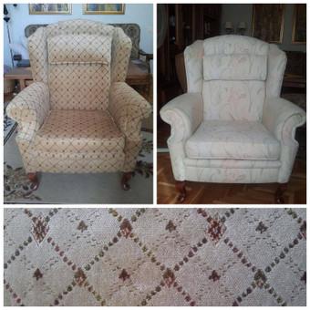 Gobelenu pertrauktas fotelis