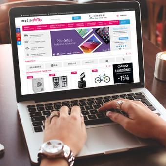 Mediashop.lt, buitinės technikos ir elektronikos internetinė parduotuvė. Spredimas: Web ir UI/UX dizainas.