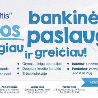 """Suplanuota ir vykdoma kredito unijos """"Tikroji viltis"""" komunikacijos ir reklamos kampanija."""