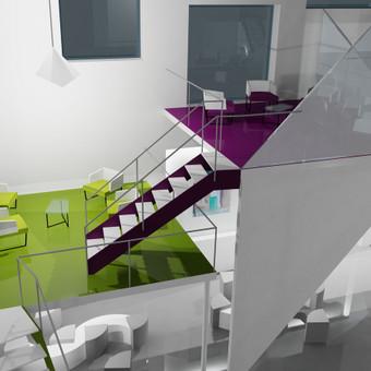 Zollvrein mokyklos ekspozicinės - bendravimo erdvės Vokietijoje interjero projektas.