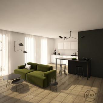 """Interjeras ''žalia sofa"""".Svetainės vizualizacija"""