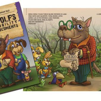 """Vilko bajorystės dokumentai"""" – populiari lietuvių pasaka nuotaikingai paaiškinanti, kodėl tarpusavyje nesutaria vilkas, šuo, katė ir pelė. Knygelė puikiai tiks vaikams nuo 6 metų!"""