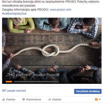 Klientas: TMD Partners.  Komunikacijos strategija, administruojamas profilis.
