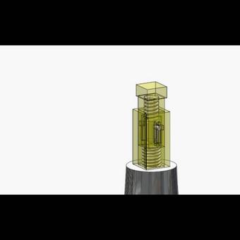 Mechaninio smūgiuotuvo (permatomas korpusas) animacija