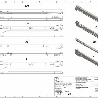 Stalčių bėgelių brėžiniai techninės informacijos lapui