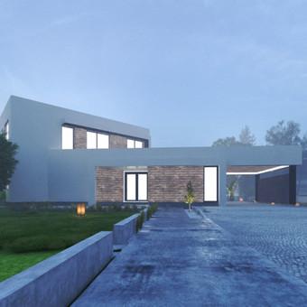 Namas - modernios architektūrinės išraiškos (naudotos švarios, ryškių linijų formos, numatyti dideli vitrininiai langai ir aukštos erdvės viduje). Formą sudaro du tūriai - vieno ir dviej ...