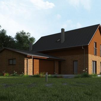 Namas yra tradicinių formų, kurios būstui ne tik suteikia jaukumo, tačiau  yra itin praktiškos turint galvoje mūsų klimatą. Bendras namo plotas - 200 kv.m.