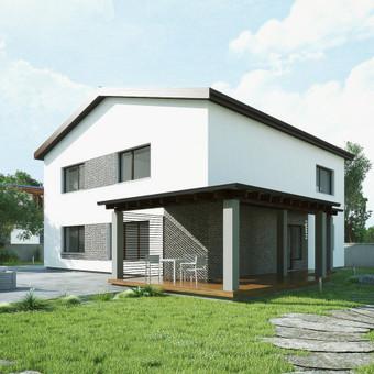 Tai tradicinės architektūrinės išraiškos namas, kuris buvo suprojektuotas penkių asmenų šeimai (antrame aukšte net keturi miegamieji kambariai po 15 kv.m.). Namas  suplanavimas funkcionalus, ...