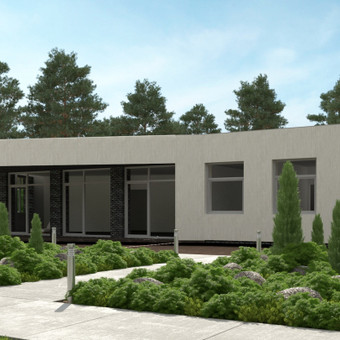 Šis modernus, minimalistinės išraiškos namas suprojektuotas jaunai šeimai. Panaudotos natūralių spalvų medžiagos nekontrastuoja su ekspresyviomis formomis. Bendras namo plotas 190 kv.m.