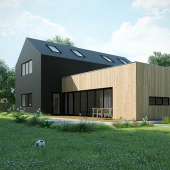 """""""MIKASA"""" - tipinis (kartotinis) Arch Arte komandos sukurtas vienbučio namo projektas. Bensras namo plotas 160 kv.m."""