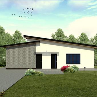 """""""BERŽUOLĖ"""" -  tipinis (kartotinis) Arch Arte komandos sukurtas vienbučio namo projektas. Tai vienas mažiausių, minimalius žmogaus poreikius atitinkantis projektas. Bensras namo plotas 80 kv.m."""