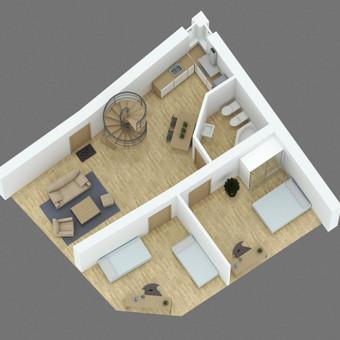 3D vizualizacijos pavyzdys. 3D planas interjerui. Užsakovas - privatus asmuo.