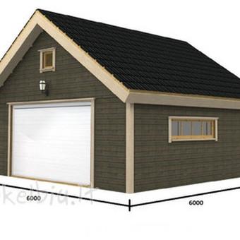 statome panašaus tipo karkasinius garažus