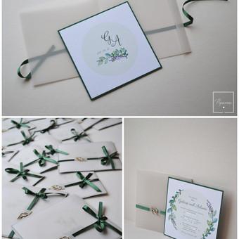 Kvietimas į vestuves skaidriu viršeliu. Dydis - 140 x 140. Kokybiška spauda + rankų darbas.