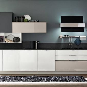nedidelė moderni jaunos šeimos virtuvė iš trijų spalvų dažyto MDF