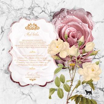 """Kvietimas """"Karališka rožė"""" Romantiškas, elegantiškas, prabangiais ornamentais puoštas kvietimas. Kvietimas išsiskiria savo netradicine forma."""
