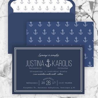 Marinistinio stiliaus kvietimas Solidus, bet romaniškas kvietimas vestuvėms pajūryje. Modernaus minimalizmo ir klasikos sąjunga dizaine. Tamsios mėlynos ir baltos derinys, galimi kiti spalvinia ...