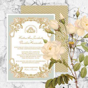 Elegantiškas, vintažinio stiliaus vestuvinis kvietimas. Dvipusė spauda. Prie kvietimo galima priderinti vientiso stiliaus voką, RVSP ir kitą spausdinamą atributiką. Dydis 14,6x10,5 cm, galimi  ...