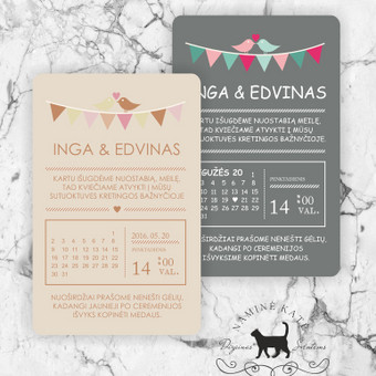 Kvietimas - meilės kalendorius Modernus,  pastelinio fono, su paukštelių akcentu, kalendoriaus intarpu, kvietimas tinkantis paprastumą mėgstančiai porai. Taip pat tinka miesto vestuvėms. Dydi ...