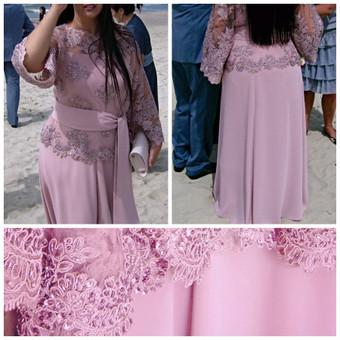 Suknelė ant petnešėlių ir karoliukais siuvinėto gipiuro bliuskutė