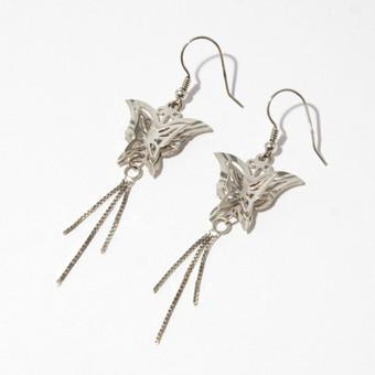 Sidabriniai auskarai su drugeliais, sidabras 925