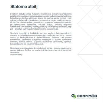 Statybų įmonės CONRESTA pristatomojo katalogo tekstų kūrėja.