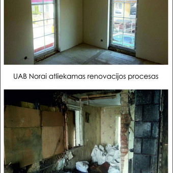 """Neįtikėtinos UAB Norai atliktos transformacijos : nuo visiško """"laužo"""" iki erdvaus buto su prancūziškais langais."""
