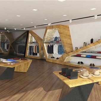 Drabužių salono konceptas. Visi baldai projektuoti individualiai.