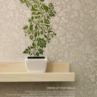 """ECODECO tapetų komunikacija, šūkis """"Green up your walls"""". Idėjos bendraautorė, tekstų kūrėja."""