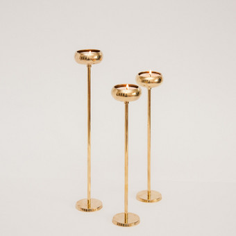 Aukso spalvos žvakidės arbatinėms žvakėms
