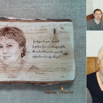 Portretai pagal užkamšymą iš nuotraukų, deginti ant medžio masyvo. Originali dovana prisiminimui-šeimos portretai.
