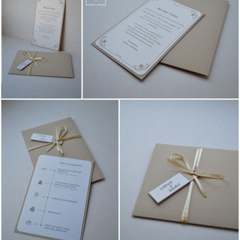 Kvietimas. Dvi dalys - kvietimo pagrindas su tekstu ir rankų darbo vokas su kaspinėliu.  Dydis - 150 x 100.