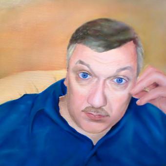 Mokinės tapytas jos vyro portretas. Drobė, aliejus. 50x70cm.