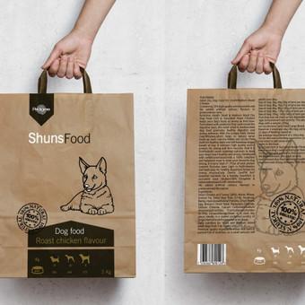 Šuns maisto pakuotės dizainas