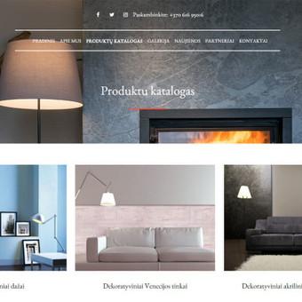 Internetinė svetainė įmonei, prekiaujančiai dekoratyviniu sienų dekoru.