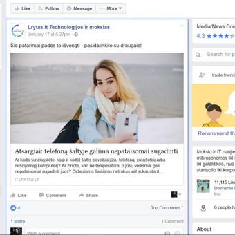 Darbo pavyzdys Nr. 4 : Išplatintas pranešimas spaudai, kuriuo buvo pasidalinta ne vien  naujienų portaluose, bet ir jų socialiniuose tinkluose.
