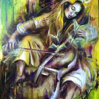 """"""" Sielos muzika """" anglis , aliejus , drobė 140 × 100"""