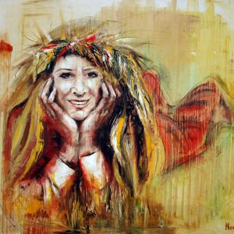 """""""Rugių deivė """" anglis , aliejus , drobė 140 × 100"""