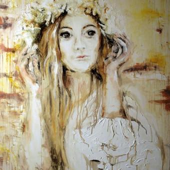 """Baltų deivės """" Aušrinė"""" anglis , aliejus , drobė 120 × 80"""